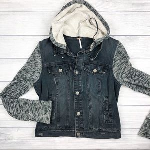 Free People Distressed Denim Hooded Jean Jacket